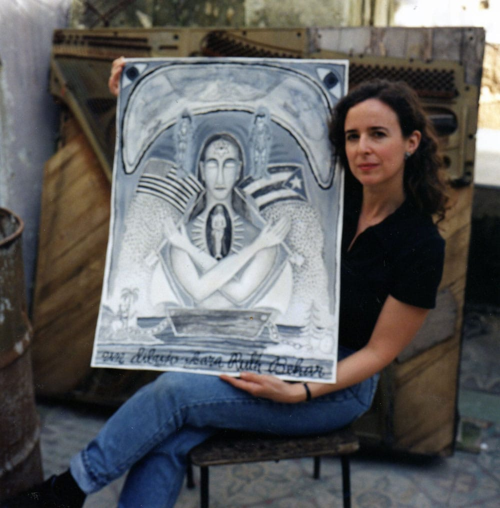 Ruth on one of her first trips to Cuba with artwork by Rolando Estévez (Rolando Estévez)